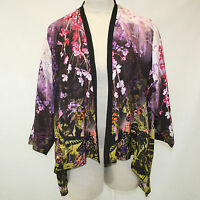 Citron Clothing Butterfly & Flowers 100% Silk Cascade Jacket Blouse 1x