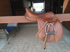 "M. Toulouse 16.5"" Full Calf Skin English Jumping Saddle Brown, Like New"