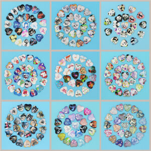 50PCS Glass Dome Cabochon Heart-shaped Style Flatback CameoJewelry Crafts 25MM