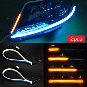 2Pcs-45CM-Coche-Tubo-Suave-Tira-de-LED-luz-de-circulacion-diurna-DRL-lamparas-de-senal-de-vuelta