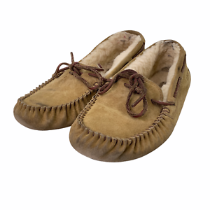 Ugg Australia Chestnut Suede Sheepskin Dakota Moccasins Slippers Leather Lace 8