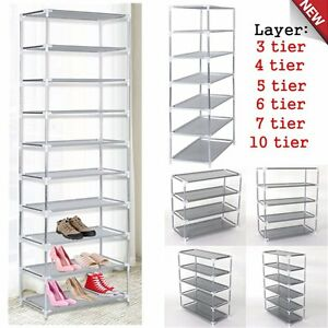 Image Is Loading New Shoe Rack Shelf Storage Closet Metal Stand