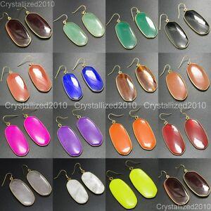 Natural-Gemstone-Sliced-Healing-Reiki-Chakra-Pendant-18k-Gold-Plated-Earrings
