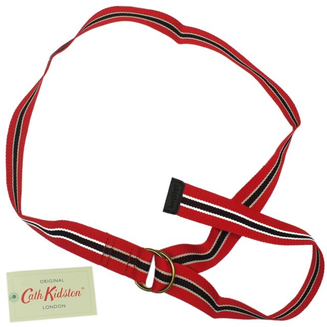 Cath Kidston Striped Webbing Belt - Charcoal & Red *100% authentic* *BNWT*