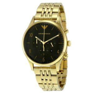 Emporio-Armani-AR1893-Classic-Gold-Tone-Black-Dial-Stainless-Steel-Men-039-s-Watch