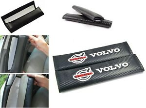 Embroidery Car Seat Belt Cover Pad Shoulder Cushion for Volvo 2pcs Carbon Fiber