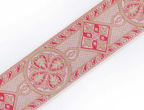 "2 3//8/"" Jacquard Trim Medieval Style Rose  on Gold Church Vestment Sewing 3 Yards"