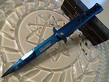 """Tac-Force Assisted Blue Titanium Gangster Stiletto Dagger Pocket Knife HD 9"""" Op"""