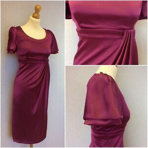 Karen-Millen-Ladies-Pink-Stretch-Satin-Empire-Line-Midi-Dress-UK-Size-10-12