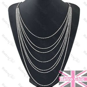 Image is loading LONG-MULTI-CHAIN-layered-NECKLACE-chains-SILVER-FASHION- 914ccac16