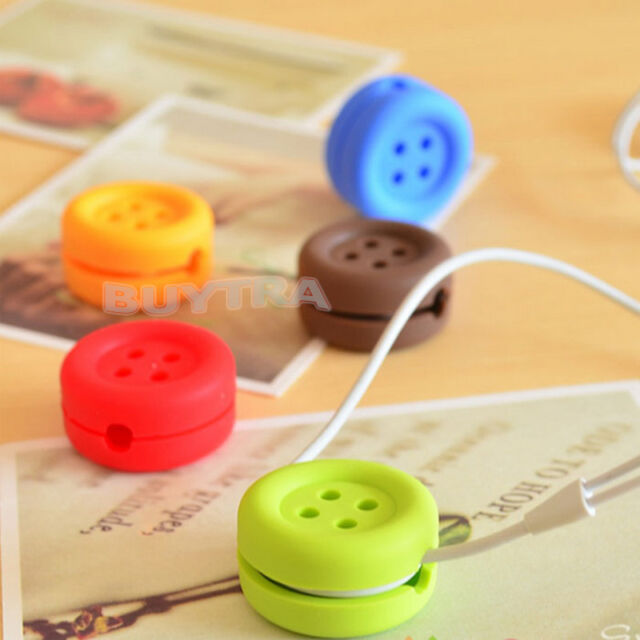 1x Button Cable Cord Wire Organizer Bobbin Winder Wrap For Headphone Earphone LY