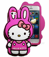 3D Hello Kitty Rabbit Ear w Gold Heart Chain Silicone Soft case for iPhone 5 5S