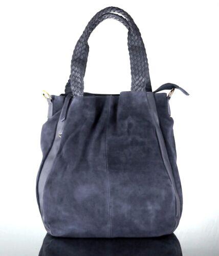 Handbag WonderlandScarlett  Suede Woven-Handle Bucket Tote Blue