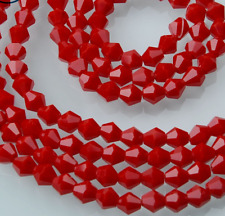50pcs Jade material red exquisite Glass Crystal 6mm Bicone Beads loose beads