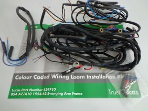 bsa a7 a10 rgs lucas wiring harness 1954 1962 swinging arm image is loading bsa a7 a10 rgs lucas wiring harness 1954