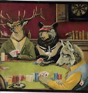Deer Ram Bear Fox Playing Poker Wallpaper Border Ll50163b