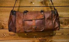 "25/"" Leather handmade travel luggage vintage overnight weekend duffel Gym Bag"