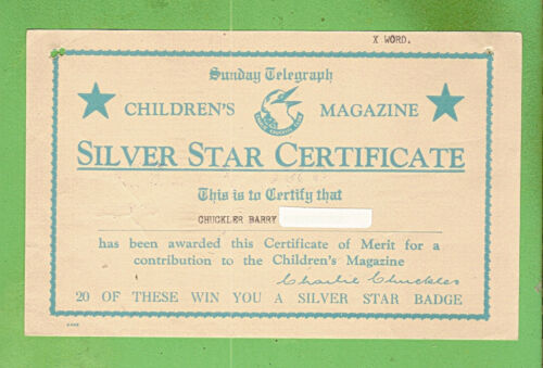 #D136. SUNDAY TELEGRAPH CHILDREN'S SILVER STAR CERTIFICATE CARD