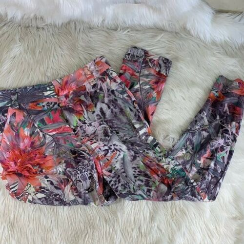 alice + olivia Pink and Gray Floral Tapered Trouse