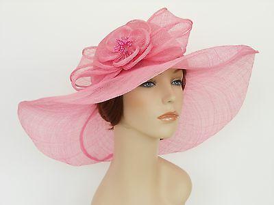 New Church Kentucky Derby Wedding Sinamay Wide Brim Dress Hat SDL-006 Pink