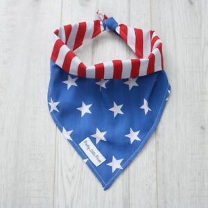 Handmade-Dog-Bandana-Tie-around-neck-Reversible-Stars-amp-Stripes