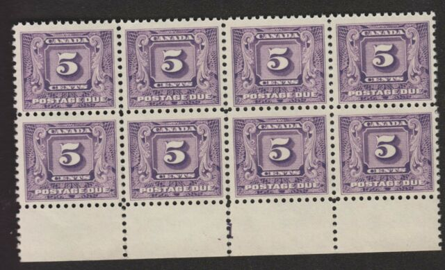 1930-32 5¢ POSTAGE DUE #J9 PLATE BLOCK OF 8 MINT NEVER HINGED $410, PERF SEPS
