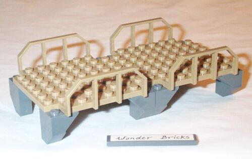 Lego Bridge Platform with Rail 3677 Train Wagon Fence Dark Tan Plate