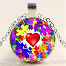 Autism) Photo Cabochon Glass Silver popular Chain Pendants Necklace