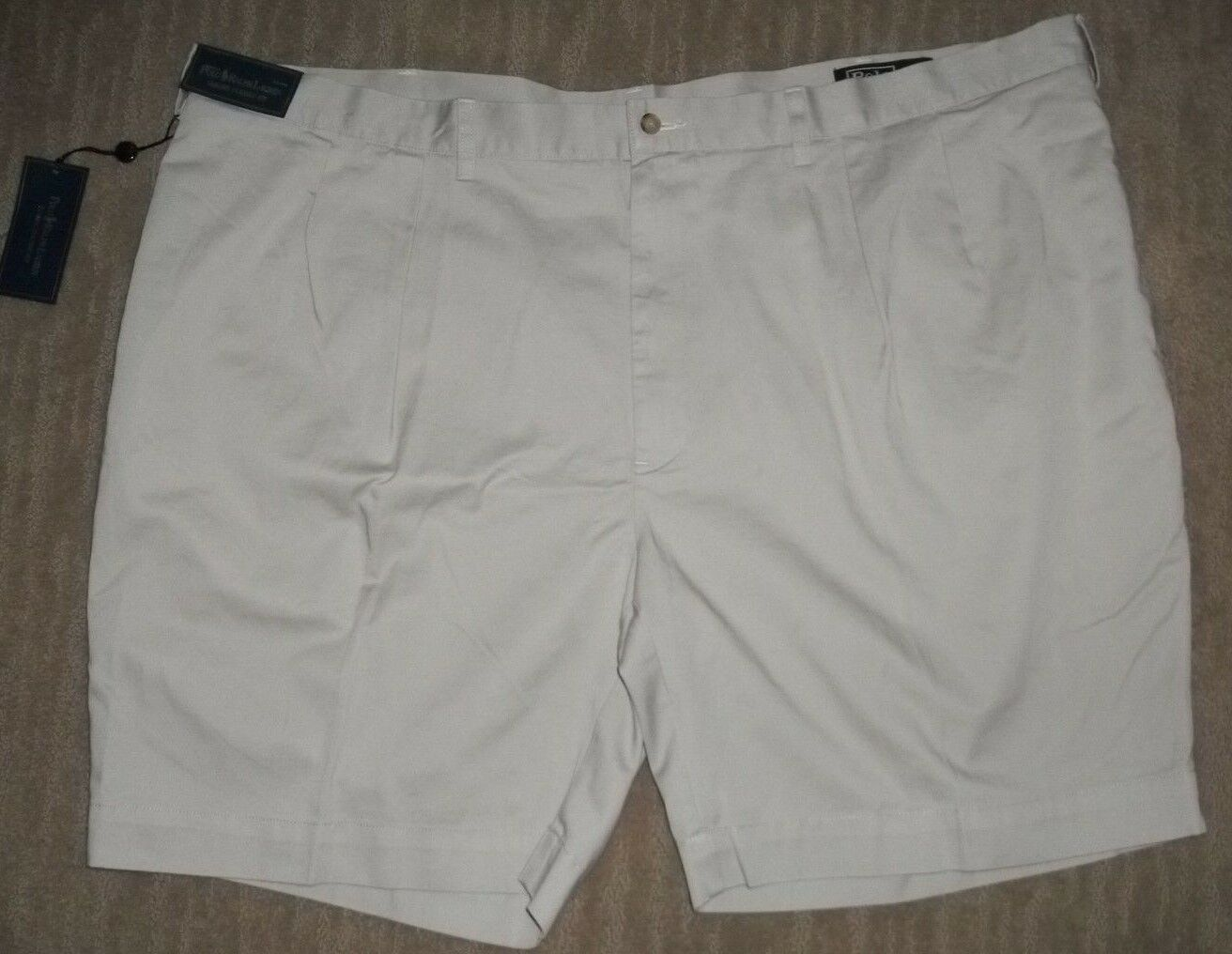 Polo RALPH LAUREN Classic Pleated COTTON Khaki Tan SHORTS Big mens Sz 50 B  NEW
