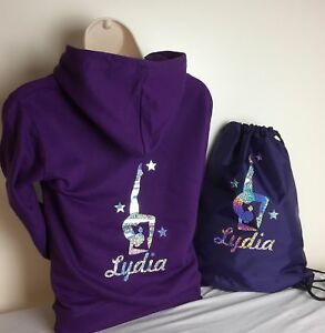 PERSONALISED GYMNASTIC HOODIES /& T SHIRTS WITH BAG OPTION AGE 3-13 NEW