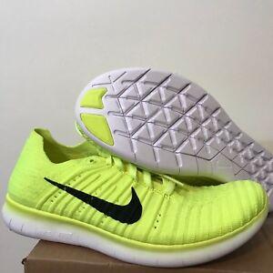 Nike Free Run Flyknit GS Sz Volt Black White 834362-700  9af33b077
