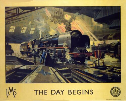 RETRO TIN PLAQUE RAILWAY L.M.S The Day Begins:Sign 113