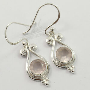 925-Solid-Sterling-Silver-Jewelry-Fashion-Earrings-Natural-ROSE-QUARTZ-Gemstone