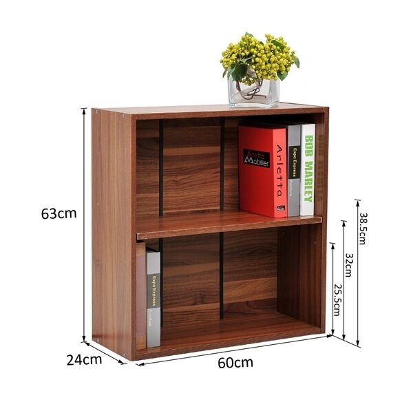 reputable site 13cee c69b5 Small Wooden Bookcase Book Storage Unit 2 Shelf Office Study Cabinet Modern  Room