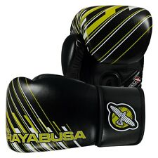 Hayabusa Ikusa Charged 14oz Leather Boxing Gloves Black / Lime Sparring MMA Thai