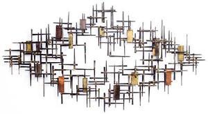 Monumental Mid Century Modern Brutalist Nail Metal Wall Sculpture