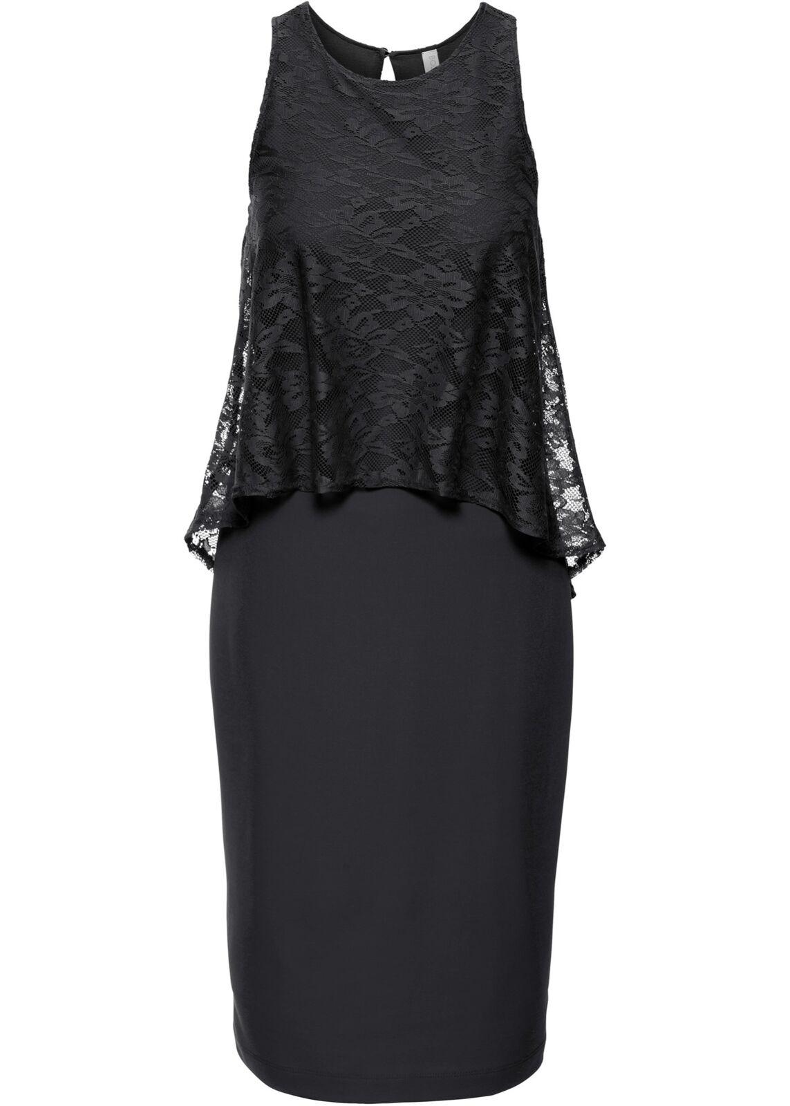 Kleid mit Spitze Gr. 38 Damen Partykleid Midi-Dress Abendkleid Cocktailkleid Neu