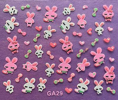 Nail Art 3D Decal Stickers Bunny Rabbits Bows Hearts Spring Pink & White GA29