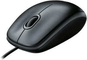 Logitech B100 Mouse USB Cablato, 3 Pulsanti, Rilevamento Ottico, Nero