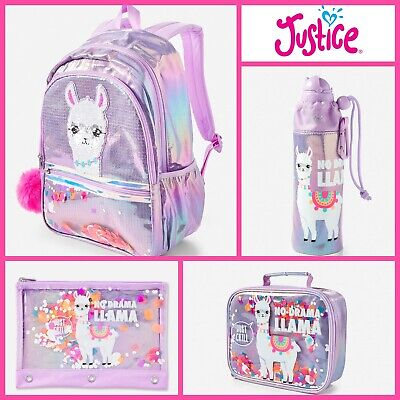 NWT JUSTICE Girls Purple Llama Backpack Lunch Tote Water Bottle and Pencil Case