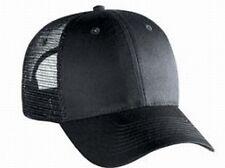 Blank Solid 6 panel Black Low profile Mesh Snap Back Cap Trucker Mesh Hat