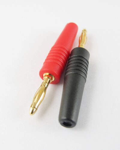 10x Gold 2mm Banana Male Plug Audio Adapters f Instrument Test Probes Red Black