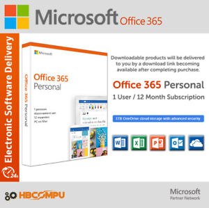 Microsoft Office 365 Personal 12 month Subscription for PC | Mac | 1