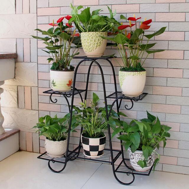 eBay & Heavy Duty Metal Plant Stand W/ 3 Layers 6 Flower Pots Shelf Display Rack Black