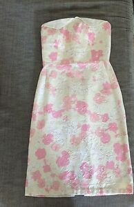 Authentic-Vintage-Pastel-Ivory-White-Pink-Strapless-Pencil-60s-Dress-Xs-6-8-0