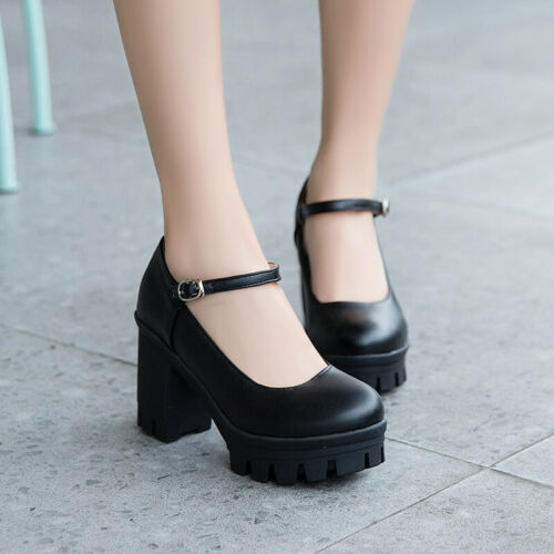 Ladies Block High Heels Platform Round Toe Ankle Buckle Strap Casual Shoes Size