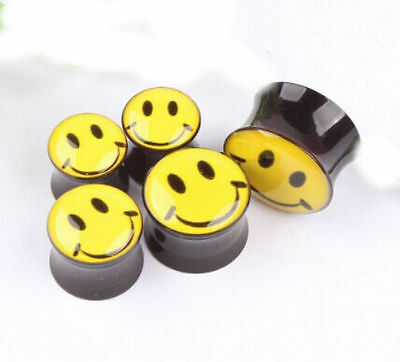 SMILEY FACE ACRYLIC EAR PLUGS STRETCHERS TAPER TUNNELS BODY JEWELLERY PL6