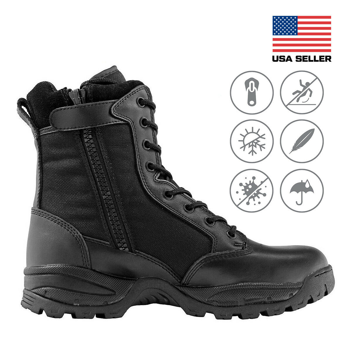 Maelstrom® TAC FORCE 8'' Men's Black Waterproof Insulated Boots with Zipper