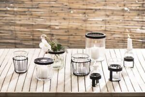Ib Laursen Glas mit Netzdeckel schwarz Blumenvase Blumen Glas Metall