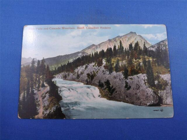 CANADIAN ROCKIES POSTCARD BOW FALLS AND CASCADE MOUNTAIN BANFF